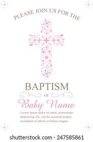 Pink Girl's Baptism/Christening/First Communion/Confirmation Invitation with Cross Design - Vector