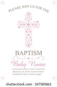 Roze meisjesdoop/doop/Eerste communie/Bevestiging Uitnodiging met Cross Design - Vector