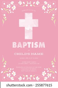 Pink Girl's Baptism/Christening/First Communion/Confirmation Invitation with Watercolor Cross and Floral Design - Vector