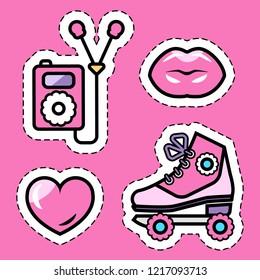 pink girl's roller skates, music player, kissing lips, love heart flat sticker set, isolated flat vector illustration eps10