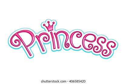 Pink Girly Princess Logo Text Graphic With Crown