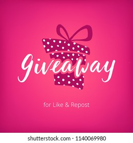 Pink giveaway template on banner for social media. White ink lettering with polka dots present box on gradient pink background. Gift banner for promotion of social account, freebie competitions.