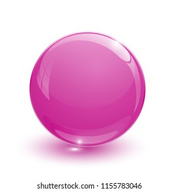 Pink glassy ball on white background
