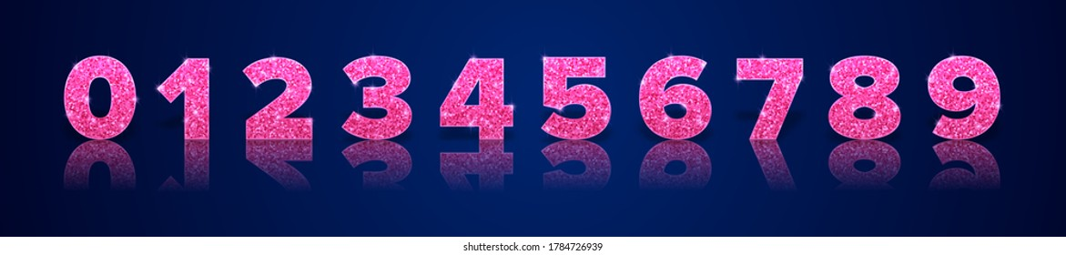 Pink glitter numbers with reflection and shadow in royal style isolated on blue background. Holiday decoration. Vector template.