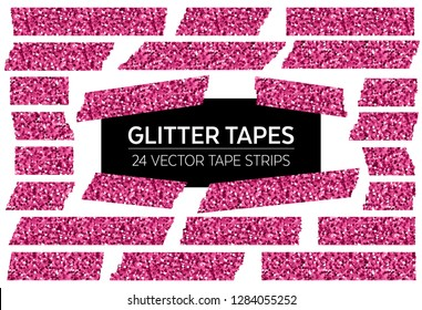 Pink Glitter Tape Strips with Torn Edges & Different Patterns. 24 Unique Isolated Vector Objects. Photo Sticker, Ad / Print / Web Layout Element, Clip Art, Scrapbook Embellishment