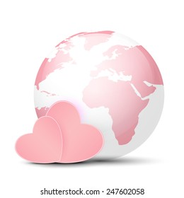 Pink Globe and hearts