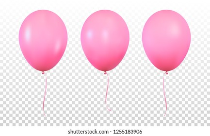 Pink glossy realistic balloons isolated. Set of realistic helium balloons for Birthday.