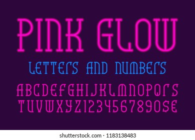 Pink glow letters and numbers with currency signs. Neon vibrant font. Isolated english alphabet.