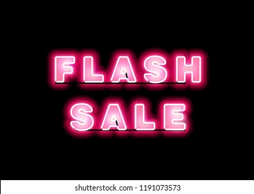 Pink Glow Neon Flash Sale Banner. Advertising signage for promotion flash sale offer, this design brings the pink color to attract eye visually and keep fashioning with the vintage element.