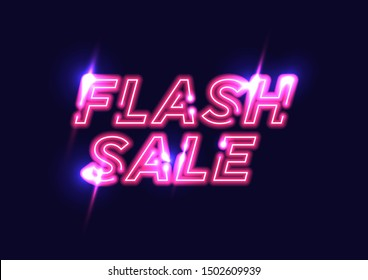 Pink Glow Neon Flash Sale Banner. Advertising signage for promotion flash sale offer, this design brings the bright color to attract eye visually and keep fashioning with the vintage element.