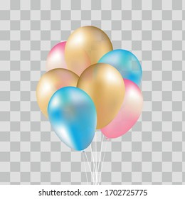 Pink, gold and blue helium ballon. Birthday balun flies for parties and celebrations. Transparent background isolated on plaid. Vector illustration for your design and business.