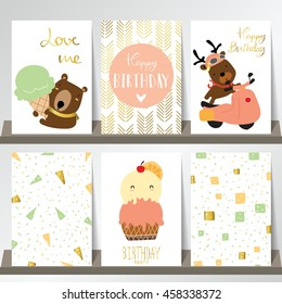 Pink gold collection for banners,Flyers,Placards with ice cream,bear on motercycle