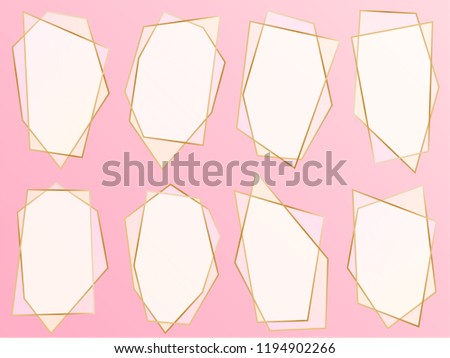 Pink Gold Collection Geometric Frames Decorative Stock Vector