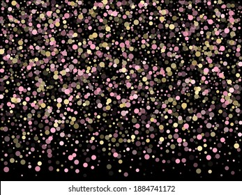 Pink gold confetti circle decoration for party invitation card. Bokeh lights effect vector. Gold, pink and rose color round confetti dots, circles scatter on black. Glamourous bokeh background.