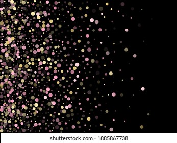 Pink gold confetti circle decoration for party poster background. Bokeh lights effect vector. Gold, pink and rose color round confetti dots, circles scatter on black. Creative bokeh background.