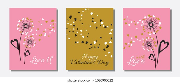 Pink gold dandelion flowers valentine template for cards, vector layouts set. With Love, Happy Valentine's Day text on card layouts. Heart shaped flying petals, love symbols. Dandelion blowing, text.