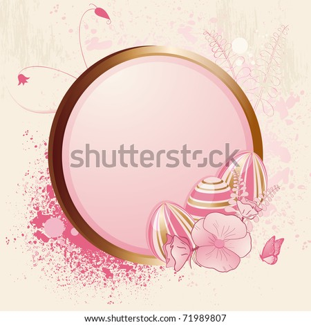 8c590441d1e Pink and gold Easter eggs on a gold frame with grunge and floral detail -  Vector