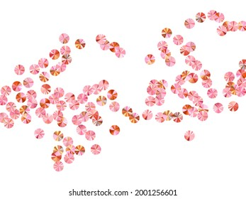 Pink gold paillettes confetti placer vector background. International Women's Day March 8th card background. Circle shiny foil particles party glitter. Confetti for Mother's day.