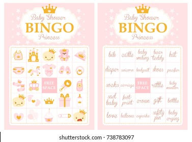 Pink and gold princess baby shower party. Bingo game. Printable template cards. Collection of baby girl vector elements. Cute royal design with crown.