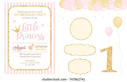 Pink and gold princess party decor. Cute happy birthday card template elements. Birthday party and girl baby shower design elements set. Glitter texture. Golden gloss effect