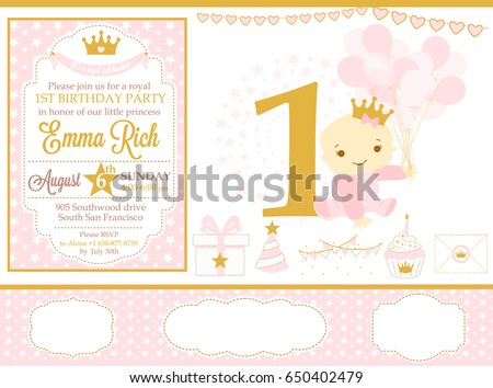 Pink and gold princess party decor. Cute happy birthday card template elements. Birthday party and girl baby shower design elements set. Seamless pattern backgrounds.