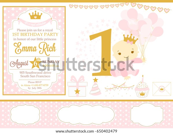 Pink Gold Princess Party Decor Cute Stock Vector Royalty