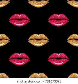 Pink and Gold shimmer Lipstick. Kiss Lips, Girl Mouth. Makeup seamless pattern, fashion wallpaper. Vector illustration.