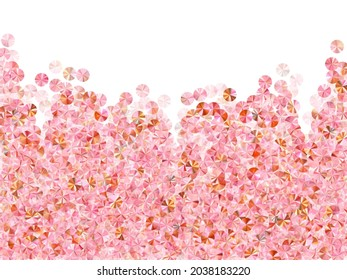 Pink gold tinsels confetti placer vector background. Birthday anniversary greeting card background. Glamour shimmering spangle particles holiday decor. Birthday celebration confetti.