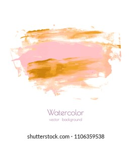 Pink gold vector hand paint ink texture background, watercolor dry brush stains, strokes, spots, smudge isolated on white. Abstract mixed fluid art. Illustration for wedding invitation, greeting card.