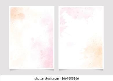 pink and gold watercolor splash background  5x7 invitation card template collection