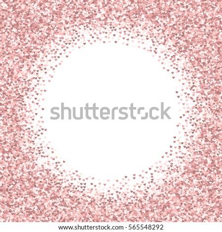 778d6c176110 Pink golden glitter made of hearts. Bordered frame on white valentine  background. Vector illustration