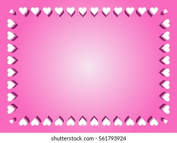 Pink gradient valentine background with border of hearts.