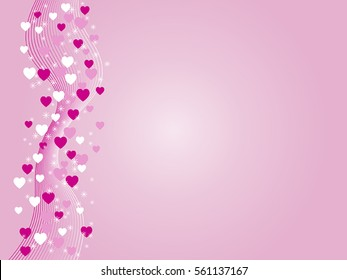 Pink gradient valentine background with waves and hearts.