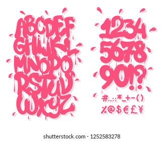Pink graffiti font. Vector illustration,EPS 10.