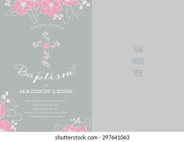 Pink and Gray Girl's Baptism/Christening/First Communion/Confirmation Invitation with Abstract Floral Design - Vector