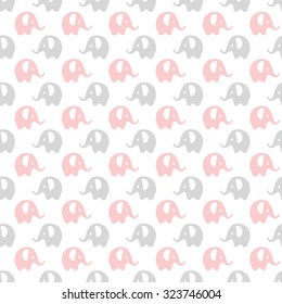 pink, gray & white elephants pattern, seamless texture background
