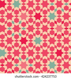 Pink and green abstract geometric seamless pattern. Islamic tile stylization.