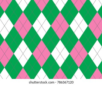 Pink and Green Argyle Background