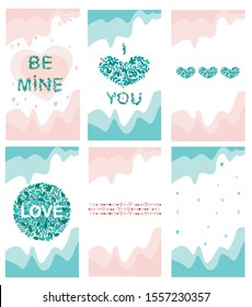 A pink and green backgrounds for instagram stories or a screen saver for your phone in a 9:16 format. a vector hearts, words i love you and be mine, leaves and plants for valentines day or wedding