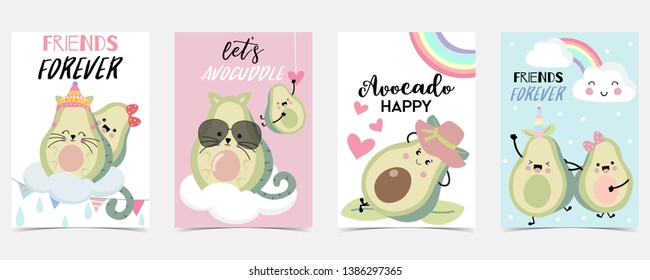pink green blue hand drawn with cloud,unicorn,rainbow,heart,star,avocado.Friend forever,Let's avocuddle