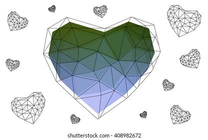 Pink, green heart isolated on white background. Geometric rumpled triangular low poly origami style gradient graphic illustration. Vector polygonal design for your business.