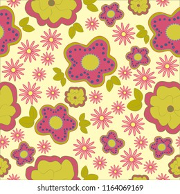 pink and green modern flower seamless background pattern design