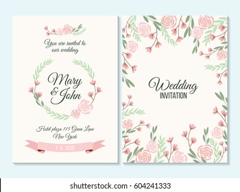 Pink and green pastel Wedding invitation, thank you card, save the date card with flowers, rose, leaf, branch on white background. Elegant hipster rustic wedding invitation. Boho style.