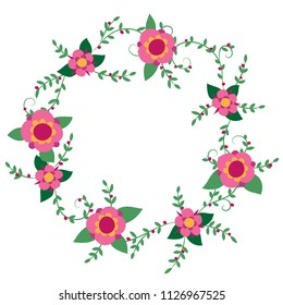 Pink and green vector floral wreath graphic isolated on white background