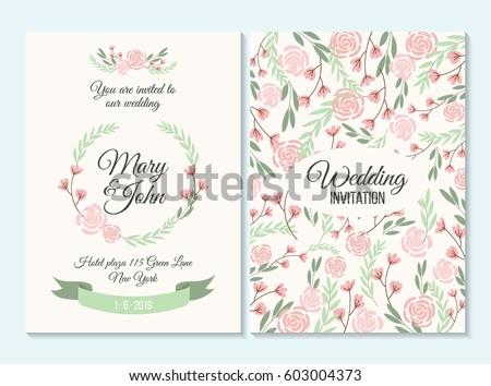 pink green wedding invitation thank you stock vector royalty free