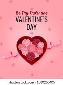 """Pink greeting card with text """"Be My Valentine"""". Heart shaped present box filled with flowers. Realistic vector design."""