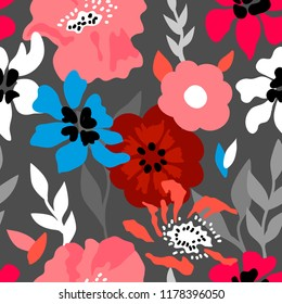 Pink and grey floral composition. Seamless vector pattern with large poppies, wildflowers and leaves inspired by 1950s design. On dark background.