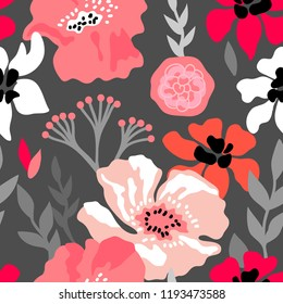 Pink and grey floral composition. Seamless vector pattern with large flowers, branches and leaves inspired by 1950s design. On sark grey background.