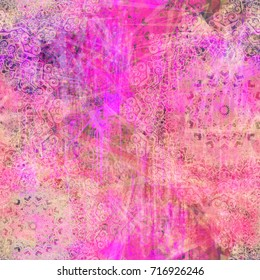 Pink grunge seamless pattern with decorative elements as mandala. Abstract vector background for web page, banners, fabric, home decor, wrapping.