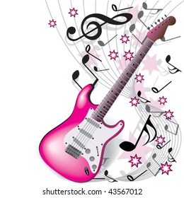 pink guitar on white background